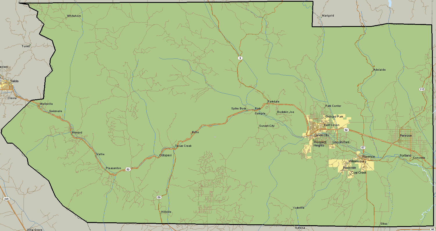 Map of Fremont County Colorado